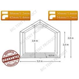 3x4m BIGTENT DEPO EXTRA raktár sátor fehér