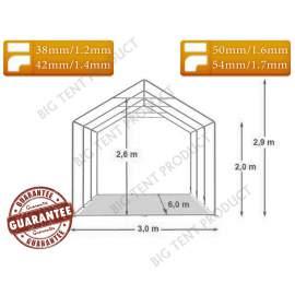 3x6m BIGTENT DEPO EXTRA raktár sátor fehér